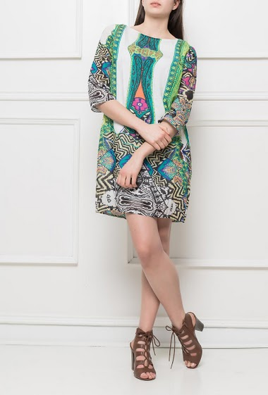 Dress with colorful pattern, regular fit