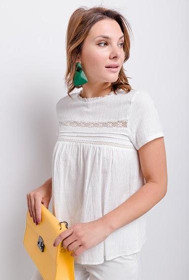 CERISE BLUE blouse with lace detail CIFA FASHION