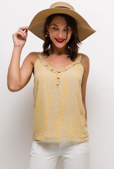 Button tank top with print. The model measures 175cm and wears S. Length:70cm