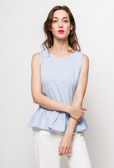 Check tank top with lace-up back. The model measures 177cm and wears S. Length:60cm