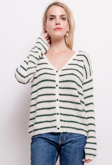 Reversible striped sweater, button back. The model measures 171cm and wears S/M. Length:60cm
