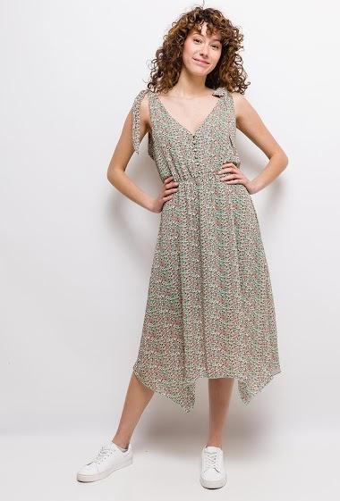 Sleeveless dress, knot straps, printed flowers, asymmetric hem. The model measures 177cm and wears S. Length:105/120cm
