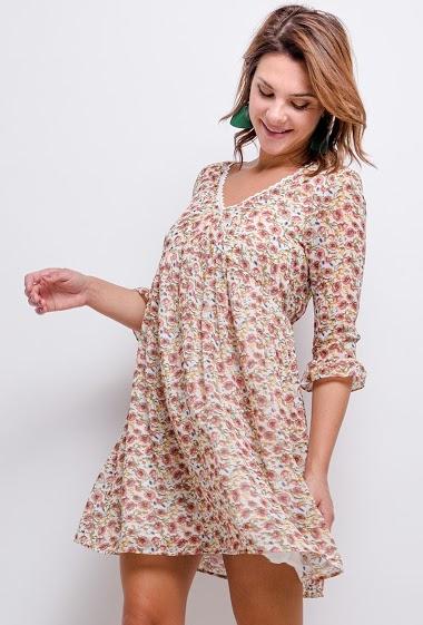 Robe à imprimé fleurs, dos avec dentelle, Doublure 100%COTON