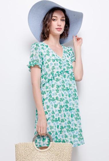 Robe à imprimé fleurs. La mannequin mesure 177cm