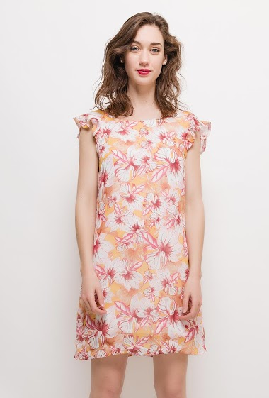 Sleeveless dress, printed flowers, V back, ruffles, lining. The model measures 177cm and wears S. Length:90cm