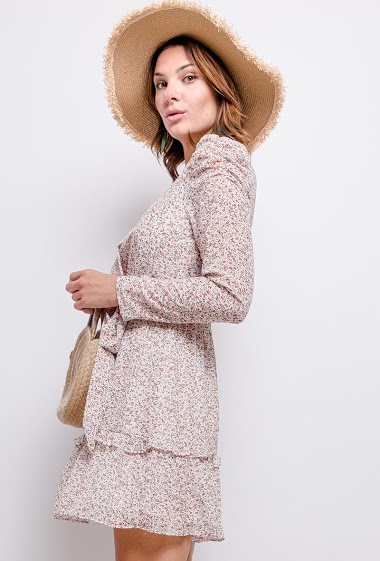 Wrap dress with shiny detail, printed flowers, long sleeves