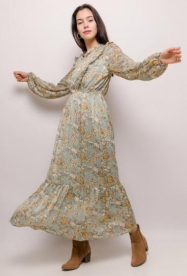 CERISE BLUE abito lungo stampato CIFA FASHION
