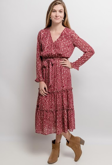 Dress with gold pattern. The model measures 173cm and wears S. Length:127cm