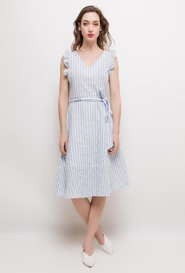 Sleeveless dress, ruffles, V neck, belt, lining. The model measures 177cm and wears S. Length:105cm