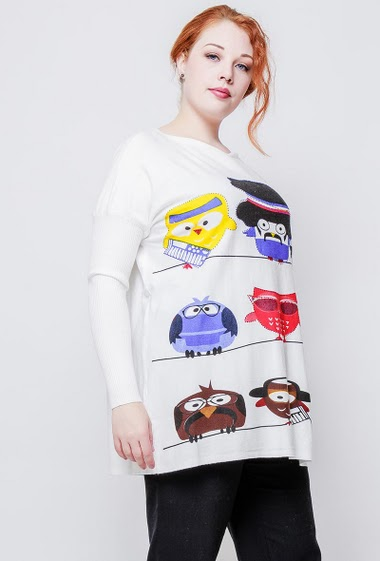 Loose sweater, soft knit, printed owls decorated with strass. The model measures 172cm, one size corresponds to 38-44