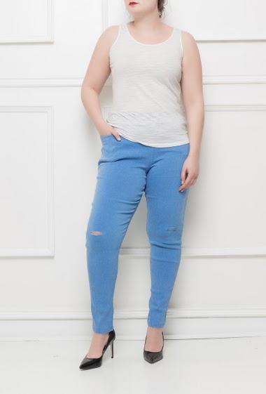 Pantalon stretch avec poches, taille élastiquée, genoux déchirés, poches - Taille M/L(42/44) L/XL(44/46)XL/XXL(46/48)