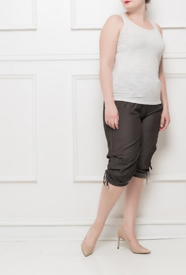 Three quarter pants with elastic waist, lace-up ankles, soft fabric - Size T2(38/40) T3(40/42) T4(42/44) T5(44/46) T6(46/48) T7(48/50)