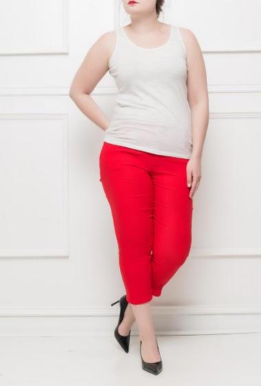Pantalon stretch avec poches, zip derrière en bas, agréable à porter - Taille T2(38/40) T3(40/42) T4(42/44) T5(44/46) T6(46/48) T7(48/50)