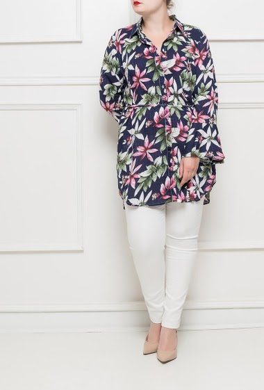 Long sleeves with flowers pattern, belt, flared long sleeves T3(42/44) - T4(46/48) - T5(50/52)