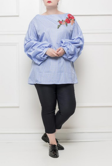 Checked tunic with embroidered floral patch, puffed sleeves - T3(42/44) - T4(46/48) - T5(50/52)
