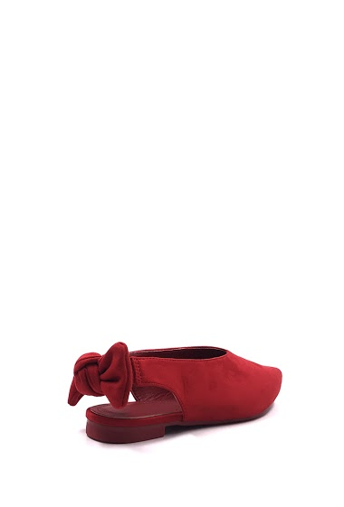 Ballerinas open heel in suede effect, bow tie flange, comfortable and elegant, easy to put on. Heel: cm. Available in Black, Red, Pink, Beige, Yellow, Khaki Green.