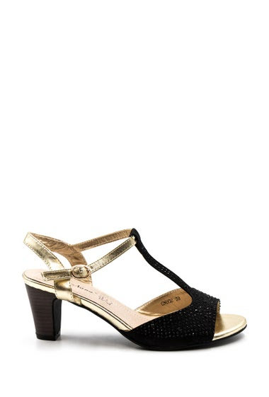 Pump shoes, ideal for parties, weddings. Rhinestone rhinestone shoe fantasy, gold color thong, heel of 7 cm, open toe.