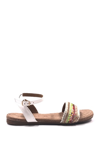 Womens Fashion Flat sandals, decorated with pearl, easy to put on, buckle closure. Heel : 2 cm. Available in Black, Beige, White, Blue.