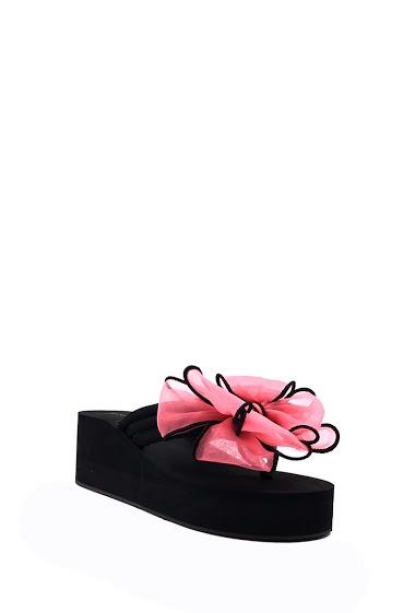 Wedge platform sandals bow tie