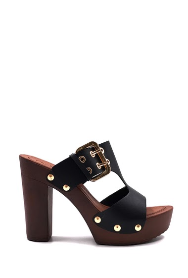 Women's Fashion Sabot Heeled, with a buckle closure, open toe, comfortable, easy to put on. Heel : 11 cm Platform : 3 cm. Available in Black, White, Camel.