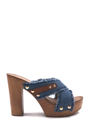 Women's Fashion Open toe pumps in jeans, comfortable, easy to put on. Heel height : 11 cm. Available in Dark Blue, Light Blue.