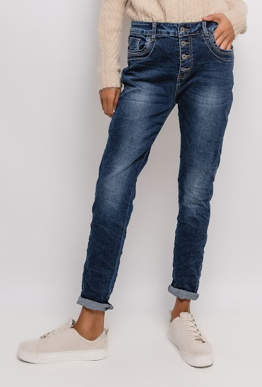 Jeans with buttoned waist