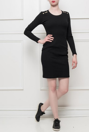 Jersey dress with decorative buttons on the shoulders, close fit, stretch fabric