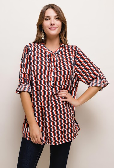 Patterned blouse,The model measures 175cm and wears T3=14/16(UK)42/44(FR). Length:75cm