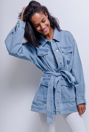 Belted jacket in denim