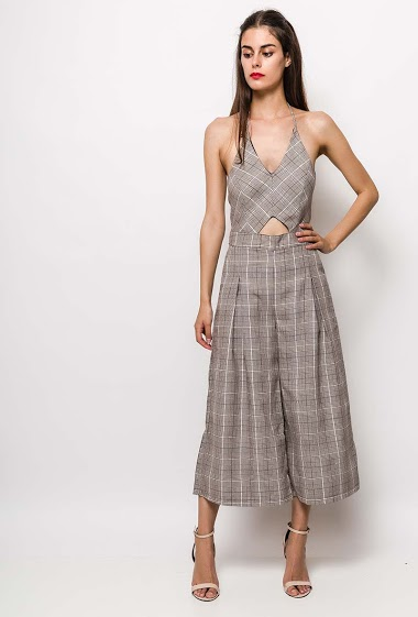 Jumpsuit with open back, tie back, wide leg pants. The model measures 176cm and wears S. Length:125cm