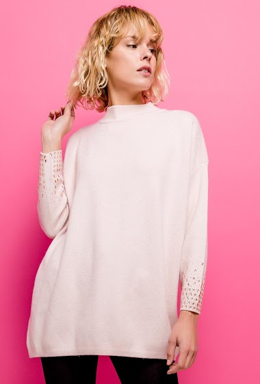 Long sweater with strass