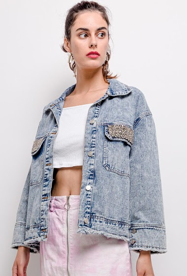 Oversize jacket with pearls