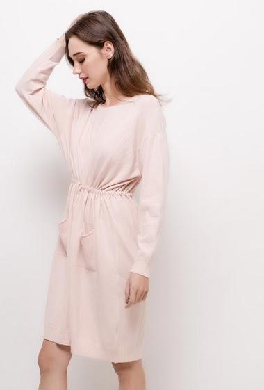 Knit dress with drawstring