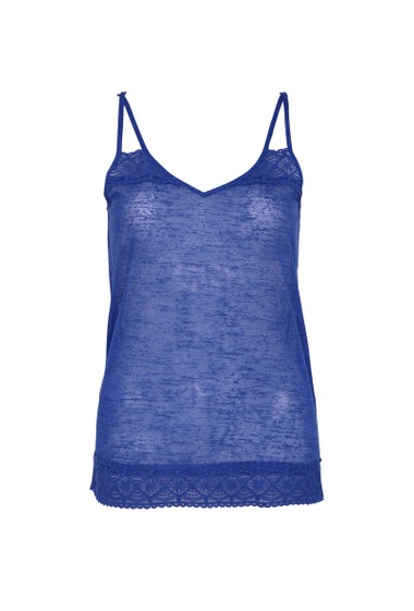 Pinted tank top with adjustable straps,  lace trim