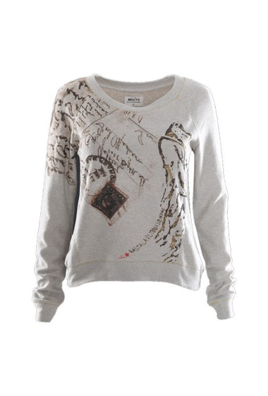Long sleeves  printed sweat round collar