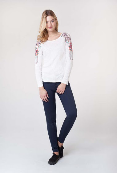 Printed Top, round collar long sleeves