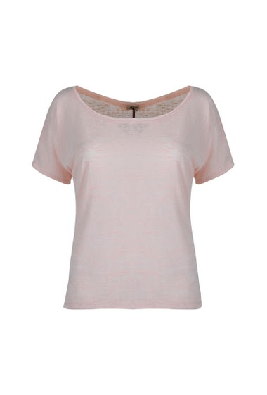 Top wide round neck, short sleeves