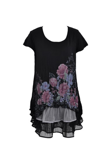 Printed flowers tunics witht short sleeves, round neck