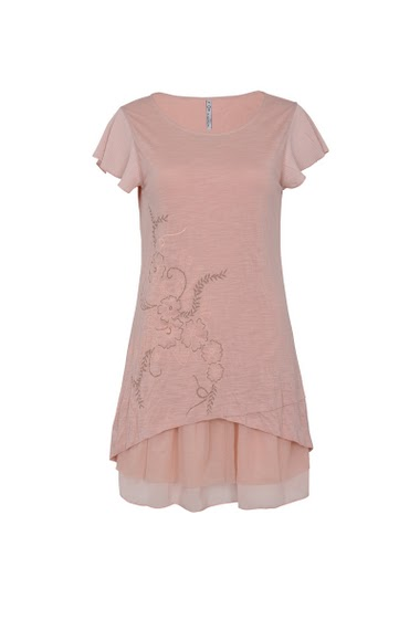 Printed and embroidered tunic, round neck short sleeves