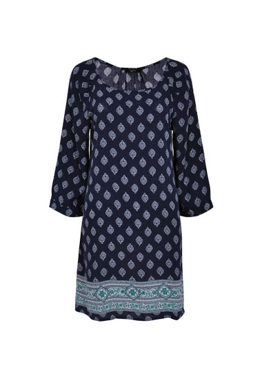 Printed Tunic, round neck, 3/4 sleeves in viscose