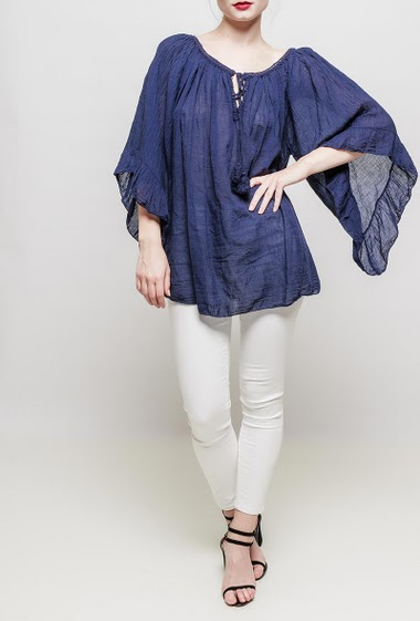 Cotton blouse with flared 3/4 sleeves, round collar with tie and tassel, flared fit, lightweight fabric - TU correspond à 38-40