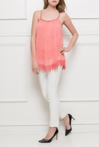 Silk tank top lace border, braided straps,fluid fabric, lining - TU corresponds to T38/40