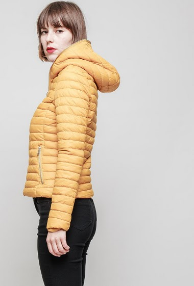 Quilted jacket, hood, slim fit, pockets. The mannequin measures 172 cm and wears S