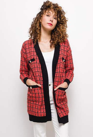 Tweed cardigan ,The model measures 177cm, one size corresponds to 10/12(UK) 38/40(FR). Length:75cm