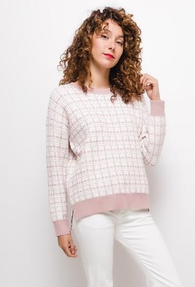 Pull en tweed,La mannequin mesure 177cm, TU correspond à 38/40. Longueur:65cm