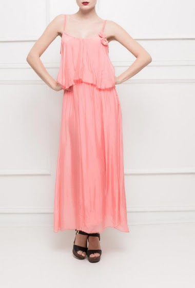 Double layered dress, adjustable straps, fancy flowers, soft and fluid fabric - TU corresponds to T38
