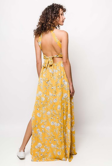 Sleeveless dress, printed flowers. The model measures 178cm and wears S/M. Length:155cm