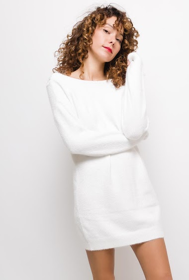 Loop knit dress with pockets