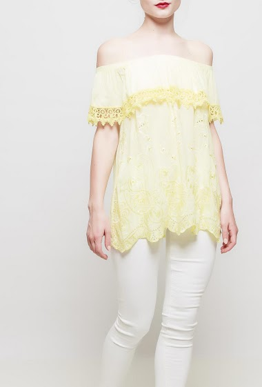 Off shoulder frill top, lace border, embroidered flowers, soft touch, fluid fabric - TU corresponds to 38-40