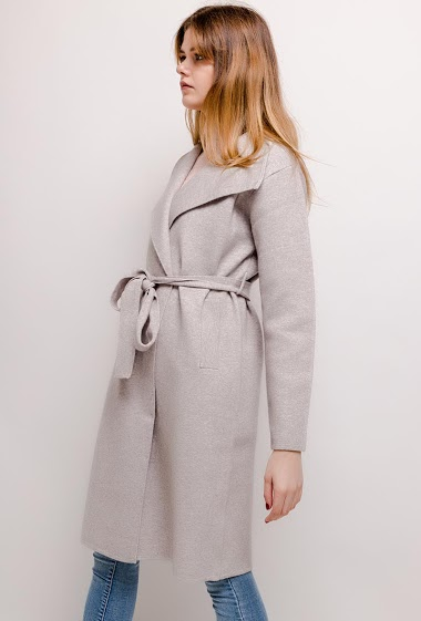 Knit jacket with belt